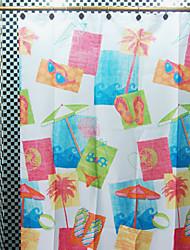 """Shower Curtain Modern White Seabeach Print Environmental W71"""" x L71"""""""