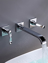 Contemporary Wall Mounted Two Handles Three Holes in Chrome Bathroom Sink Faucet