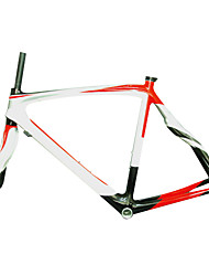 700C Full Carbon Silver+White+Red Road Bicycle Frame with Front Fork