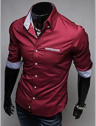 Masculino Camisa Casual Cor Solida Manga Comprida Algodão Preto / Azul / Vermelho / Branco