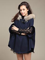 Miaojia Dames Blue Furry Cap Tweed Mantel