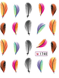 5PCS Colorful Feather Water Transfer Print Nail Stickers Mixed Pattern
