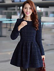 Hanyunyibo tamaño grande de manga larga Espesar adelgaza vestido de lana