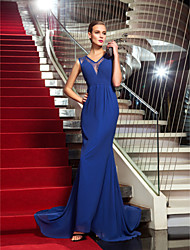 Formal Evening Dress - Royal Blue Plus Sizes Trumpet/Mermaid V-neck Sweep/Brush Train Chiffon/Lace