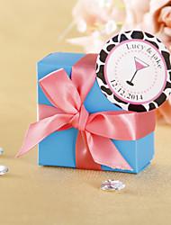 Favor Rodada personalizados Stickers - Cocktail de vidro rosa (conjunto de 36)