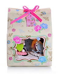 Floral Papier Carte de petit gâteau boîte de faveur avec l'arc - Ensemble de 12