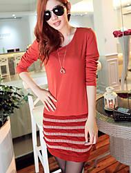 Hanyunyibo Fashion Langarm Splicing Abnehmen Kleid (rot)