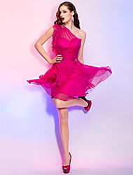 A-Line Princess One Shoulder Short / Mini Chiffon Cocktail Party Homecoming Holiday Dress with Crystal by TS Couture®