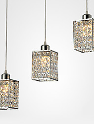 Crystal Pendant, 3 Light, Contemporary Iron Plating