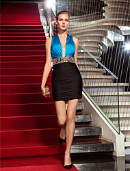 Sheath / Column V-neck Short / Mini Jersey Cocktail Party Homecoming Holiday Dress with Crystal Detailing by TS Couture®