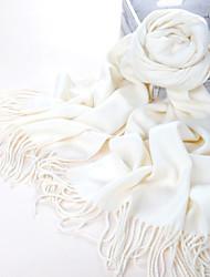 Fibra acrilica puro bianco caldo della sciarpa di inverno con nappe