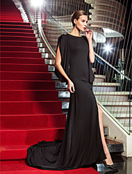 Formal Evening/Military Ball Dress - Black Plus Sizes Sheath/Column Scoop Sweep/Brush Train Jersey
