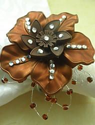 Brown Flower Acrylic Beads Napkin Ring, Dia4.2-4.5cm Set of 12