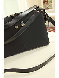 Senran Post Obblique Shoulder Pu Leather Handbags(Black)