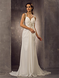 Lanting Bride® Sheath / Column Petite / Plus Sizes Wedding Dress - Classic & Timeless / Elegant & Luxurious Spring 2014Sweep / Brush