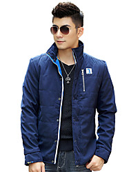 YiRANCP Men's Dark Blue Pure Stand Neck Jacket