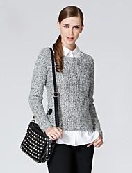 Frauen lose Rundhals Langarm-Pullover