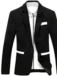 Men's Solid Casual / Formal Blazer,Cotton Blend / Wool Blend Long Sleeve Black / White