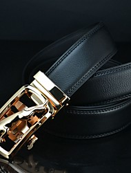 Haiqun Men's Leopard Pattern Automatic Buckle 100-135Cm Cowhide Two Layers Leather Belt