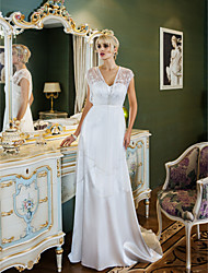 Lanting Bride® Sheath / Column Petite / Plus Sizes Wedding Dress - Classic & Timeless / Glamorous & Dramatic Vintage InspiredSweep /