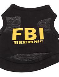 Perros Camiseta Amarillo / Negro Ropa para Perro Verano Policía/Militar / Letra y Número Vacaciones / Moda