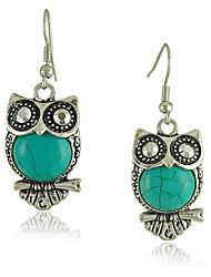 De boucles d'oreilles de style de cru vert turquoise OWL femmes