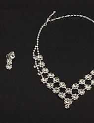 Argent Mode alliage avec le Rhinestone clair de mariée Parures (Colliers et boucles d'oreilles)