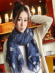 BY Fashion Owl Pattern Scarf(Navy Blue)