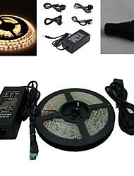 5M 300x5050 SMD LED branco quente luz de tira e Connector e AC110-240V para DC12V6A Transformer
