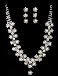 Gorgeous Alloy Silver  Rhinestone and Immitation Pearl Bridal Jewelry Set(Necklace,Earrings)