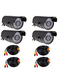 IR Outdoor 36IR Leds CCTV CMOS 540TVL Night Vision Waterproof Bullet Camera 4PACK + 20M  BNC to BNC Video Power Cable 4PACK