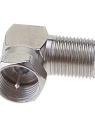"F Fiche mâle à F Female Jack Right Angle Adapter Nickel 90 degrés TV Coaxial ""F"""