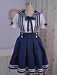 Manches longues de longueur genou coton blanc Sailor Suit Lolita