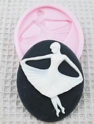 Mold Ballet da menina 3D Silicone Fondant Moldes Sugar Craft Moldes de chocolate para bolos