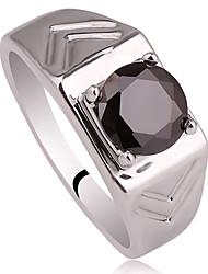 Form Carve-Band-Männer Echt 925 Sterling Silber Ring mit Zirkonia