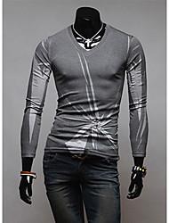 v de la camisa de polo de adelgazamiento de impresión irregualr personal (gris)