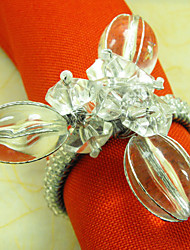 Crystal Diamond Flower Wedding Napkin Ring Set of 6, Metal Crystal Dia 4.5cm