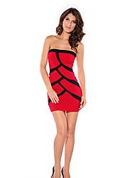Bandeau Contrato Cor Mini Vestido das mulheres