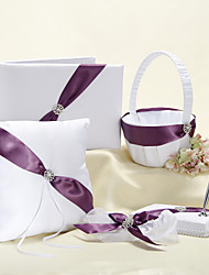 5 Collection Set White / Lilac Guest Book / Pen Set / Ring Pillow / Flower Basket / Garter