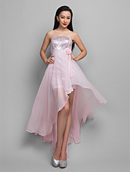 TS Couture® Cocktail Party / Holiday Dress - Candy Pink Plus Sizes / Petite A-line Strapless Asymmetrical Chiffon / Sequined