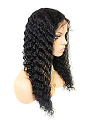 20inch Brazilian Remy Hair Front Lace Wig Deep Wave Off Black