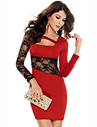 Darling Clothes Women's Sexy Long Sleeve Lace Fit Short Red Dress