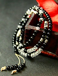 Moda Black Onyx e Colar Branco Mulheres Cristal
