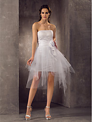 Lanting Bride® Sheath / Column Petite / Plus Sizes Wedding Dress - Chic & Modern / Reception Short / Mini Strapless Tulle with
