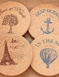 Rodada Cork Madeira Coaster - conjunto de 4 peças