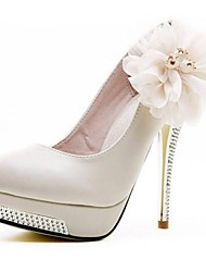 Leather Women's Wedding Stiletto Heel Pumps with Flower and Rhinestone Fashion Shoes
