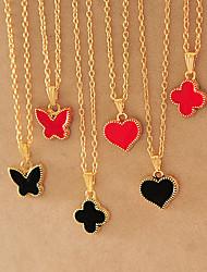 Dm Drip flowers butterflies Female peach heart pendant necklace(Screen Color)