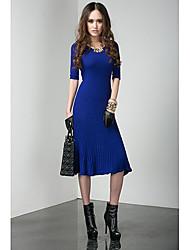 HERA Women's V neck Royal Blue 1/2 Sleeve Knee length Swing Dress