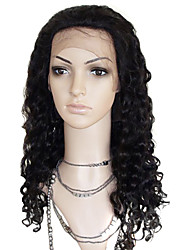 20inch Indian Remy Hair Front Lace Wig Deep Curl Off Black(#1b)Long Wig
