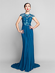 Formal Evening/Military Ball Dress - Ink Blue Plus Sizes Sheath/Column Jewel Sweep/Brush Train Chiffon/Sequined